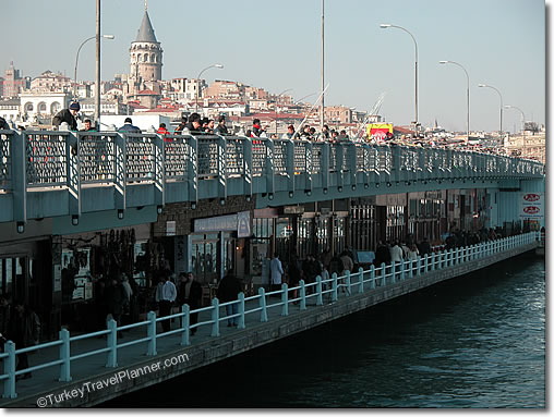 Galata Bridge is a good place to unwind with a drink.