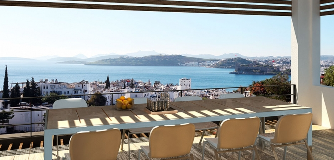 Panoramic Penthouse with superb Bodrum Castle view