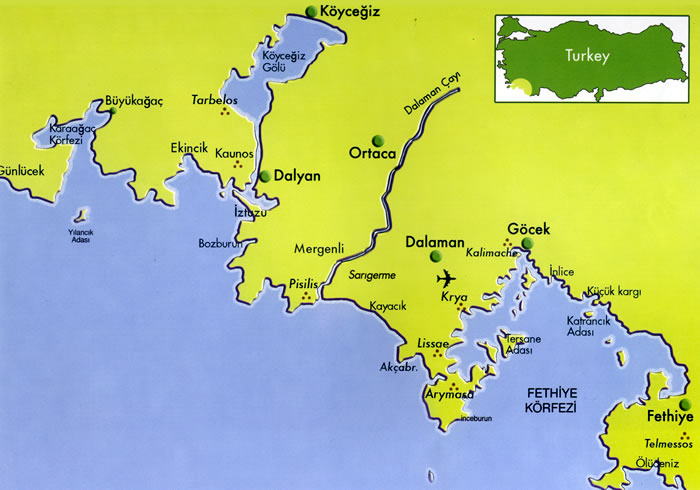 Area map showing Lake Koycegiz