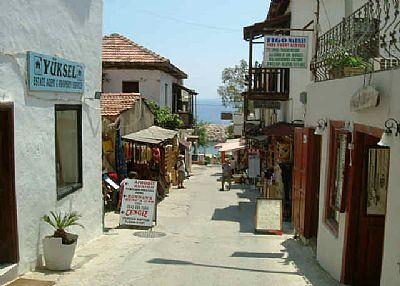Kalkan cobbled streets with sea views