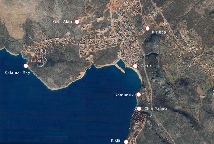 Kalkan map showing kalamar, kisla, etc