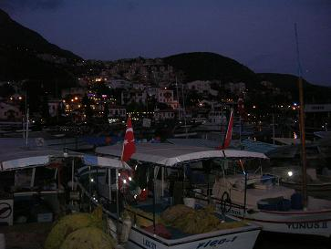 Kas Harbour by night