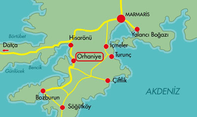 Orhaniye and nearby Marmaris