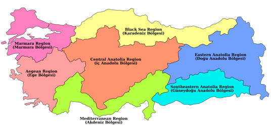 Turkey map and turkey regions by propertyturkeyforsale turkey is split into 7 regions each has its own distinct climate landscape and traditions the first four are named according to their adjacent seas the publicscrutiny Choice Image