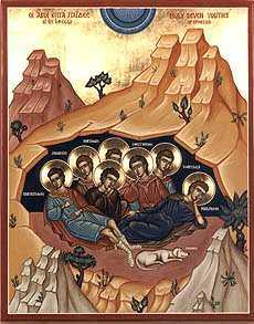 An illustration depicting the legend of the Seven Sleepers.