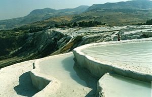 Pamukkale's striking pools are caused by calcium build-up.