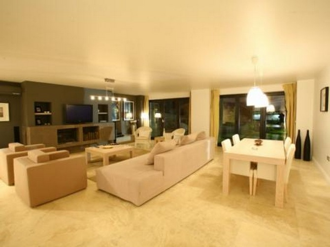 Modern open plan living room and dining area