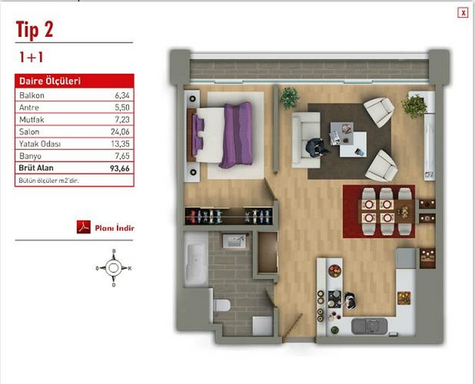One bedroom plan