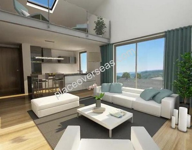 Open plan living room with gallery
