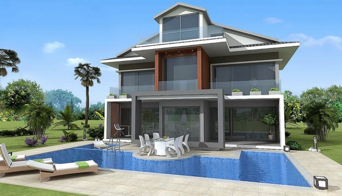 4 Bedroom Detached Villas with Swimming Pool in Gocek