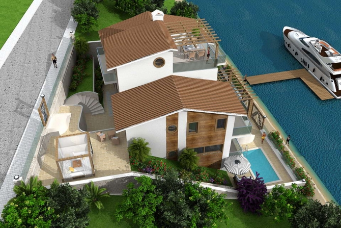 Spacious villa at waterfront in Fethiye