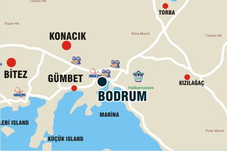 Bodrum Town map with nearby villages