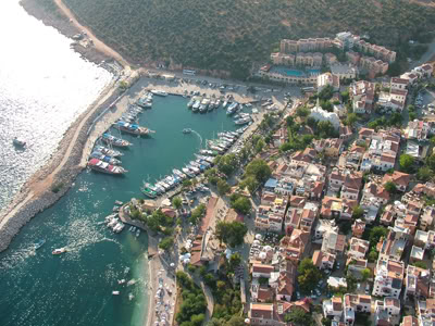 Kalkan marina birds eye view